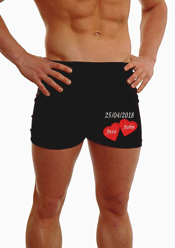 PERSONALISED MENS HIPSTER BOXER SHORTS - 2 HEARTS EMBROIDERED - ANNIVERSARY - ON THE LEG